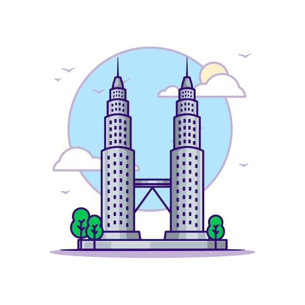 Ilustracje Petronas Towers. Koncepcja Zabytków Biały Na Białym Tle. Płaski Styl Kreskówki Premium Wektorów