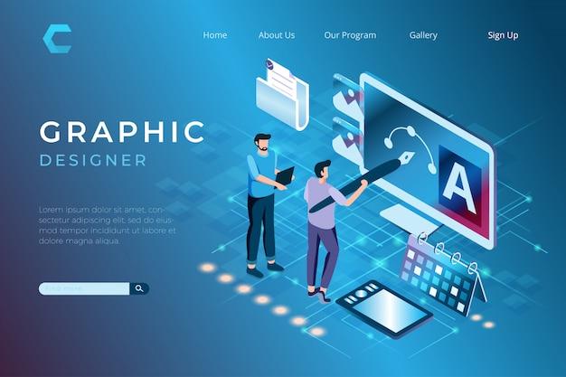 Ilustracje Projektanta Graficznego Przy Pracy Nad Projektami, Projektowanie Grafiki W Izometrycznym Stylu 3d Premium Wektorów