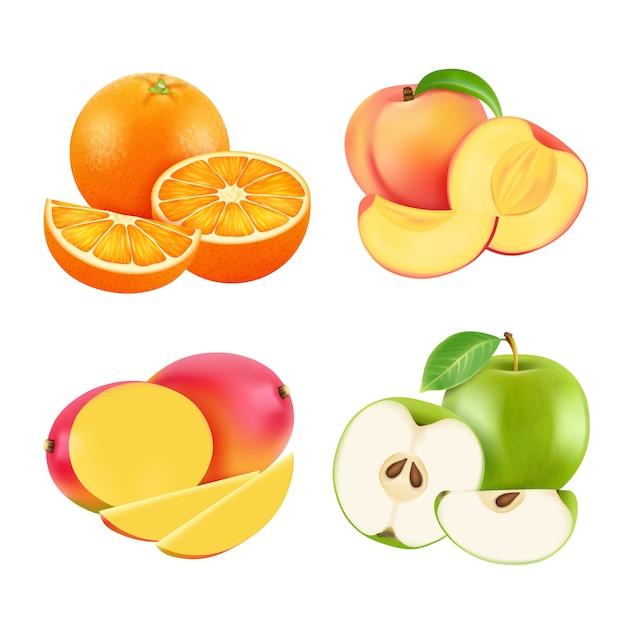 Ilustracje różnych świeżych owoców. realistyczny Premium Wektorów