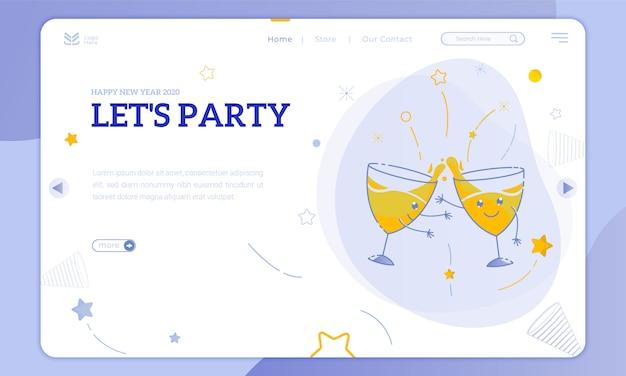 Ilustracje Uroczy Imprezowy Kieliszek I Zróbmy Przyjęcie Noworoczne Na Stronie Docelowej Premium Wektorów