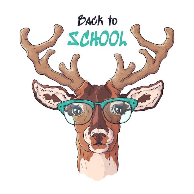 Ilustracje wektorowe. portret cute realistyczne jelenie w okularach. Premium Wektorów