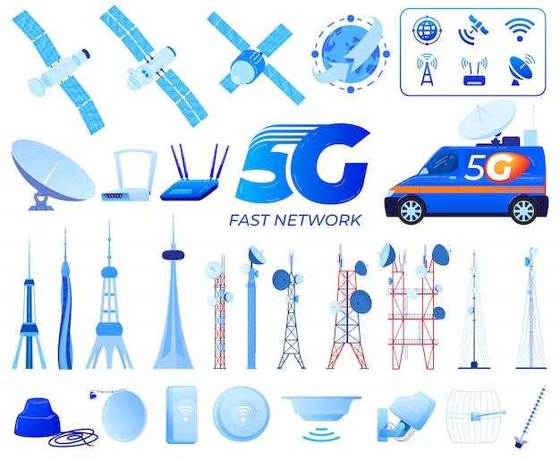 Ilustracje Wektorowe Technologii Komunikacji 5g. Premium Wektorów