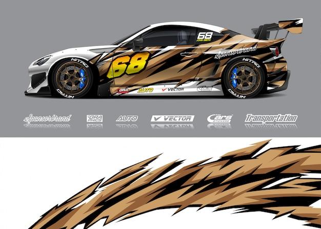 Ilustracje Zawijania Samochodów Wyścigowych Premium Wektorów