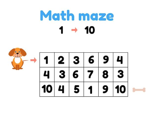 Ilustracji wektorowych. gra dla dzieci w wieku przedszkolnym. labirynt matematyczny. pomóż szczeniakowi dotrzeć do kości. znajdź liczby od 1 do 10 Premium Wektorów