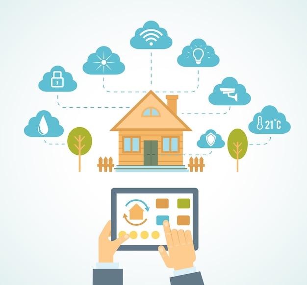 Ilustracji Wektorowych Koncepcja Systemu Technologii Inteligentnego Domu Ze Scentralizowaną Kontrolą Darmowych Wektorów