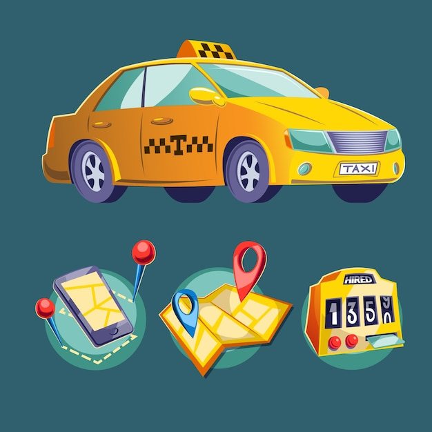 Ilustracji wektorowych kreskówek na temat miejskiego transportu drogowego. Darmowych Wektorów