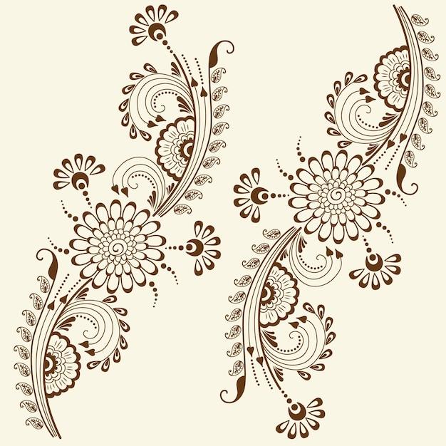 Ilustracji wektorowych mehndi ozdoba. tradycyjny indyjski styl, ozdobne elementy kwiatowe do tatuażu henny, naklejki, projekt mehndi i jogi, karty i nadruki. streszczenie kwiatowy ilustracji wektorowych. Darmowych Wektorów