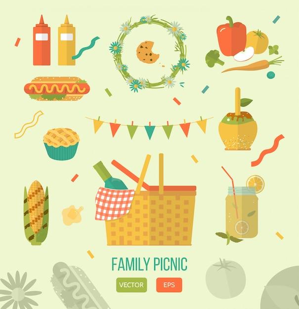 Ilustracji Wektorowych Piknik Rodzinny Premium Wektorów
