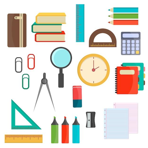 Ilustracji wektorowych przyborów szkolnych. Premium Wektorów