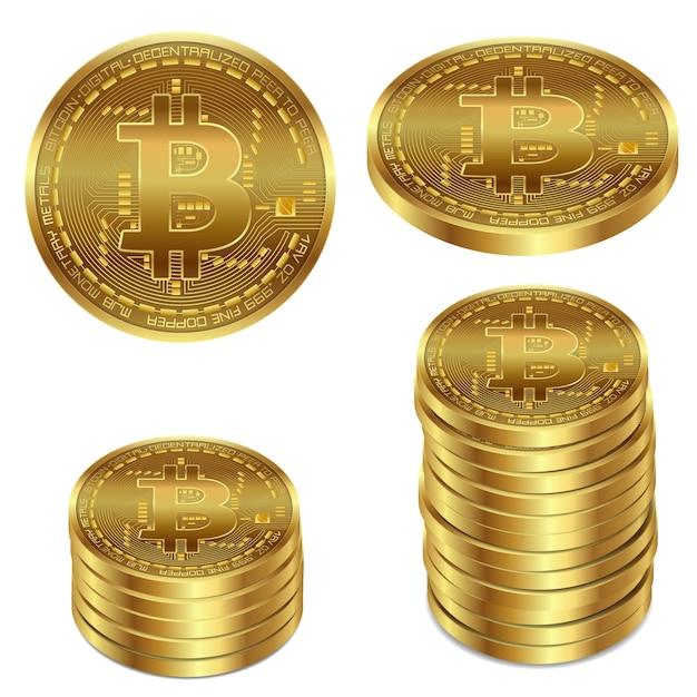 Ilustracji wektorowych z? oty bitcoin na bia? ym tle. Darmowych Wektorów
