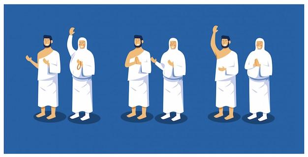 Ilustracji Wektorowych Zestawu Znaków Islamskiej Pielgrzymki Hadżdż Mężczyzny I Kobiety Premium Wektorów