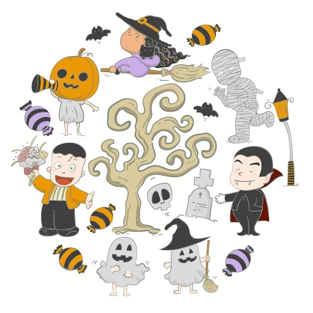 Ilustracyjna ręka rysujący elementu ustawiający charakterów halloween przyjęcie Premium Wektorów