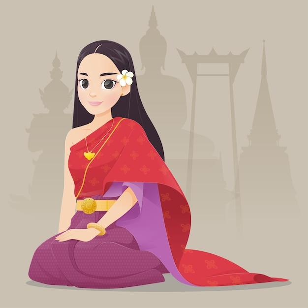 Ilustracyjne tajlandzkie kobiety w tajlandzkiej tradycyjnej sukni, tradycyjny południowo-wschodni azjata kostium, kreskówka Premium Wektorów