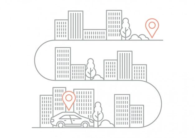 Ilustracyjne wskazówki nawigacyjne z samochodem Premium Wektorów