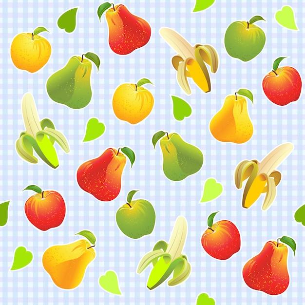 Ilustracyjny Bezszwowy Wzór Z Różnymi Owoc Premium Wektorów