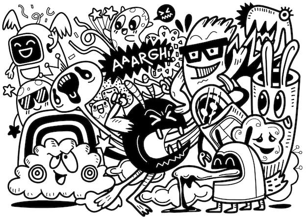 Ilustracyjny Doodle Obcy I Potwór Kreskówki Doodle Premium Wektorów