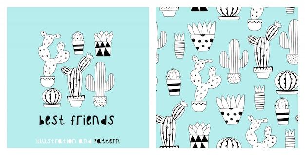 Ilustracyjny i bezszwowy wzór z ślicznym kaktusem Premium Wektorów