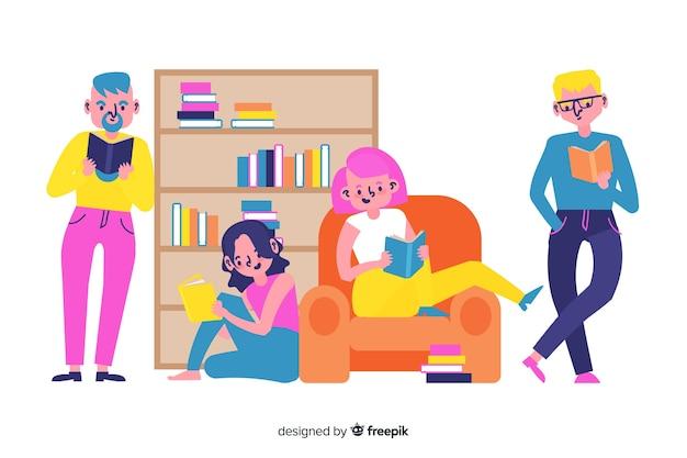 Ilustracyjny pojęcie z młodzi ludzie czytać Darmowych Wektorów