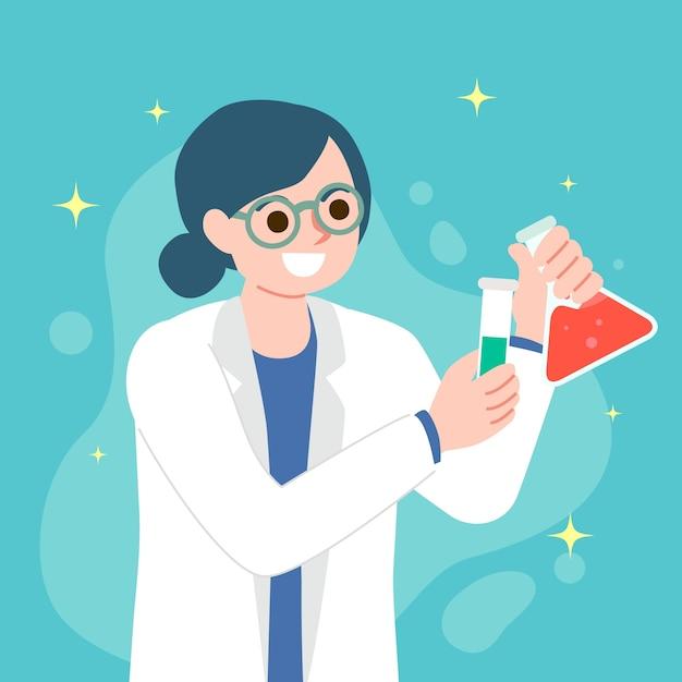 Ilustracyjny Pojęcie Z Naukowiec Kobietą Darmowych Wektorów
