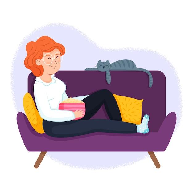 Ilustracyjny Pojęcie Z Osoby Relaksować Darmowych Wektorów