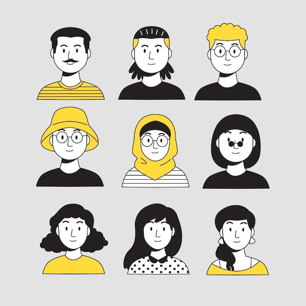 Ilustracyjny Projekt Z Ludźmi Avatarów Premium Wektorów