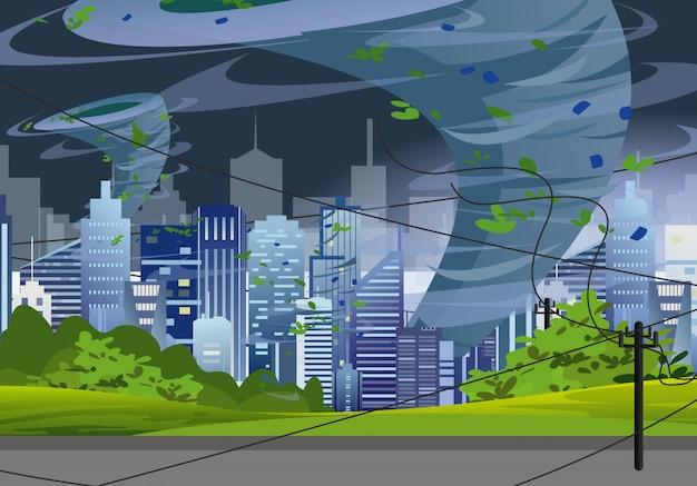 Ilustracyjny Tornado W Nowożytnym Mieście Niszczy Budynki. Huragan Ogromny Wiatr W Drapaczach Chmur, Koncepcja Burzy Z Piorunami W Stylu Płaski. Premium Wektorów