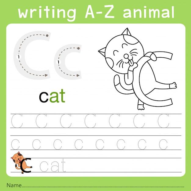 Ilustrator pisania az zwierząt c Premium Wektorów