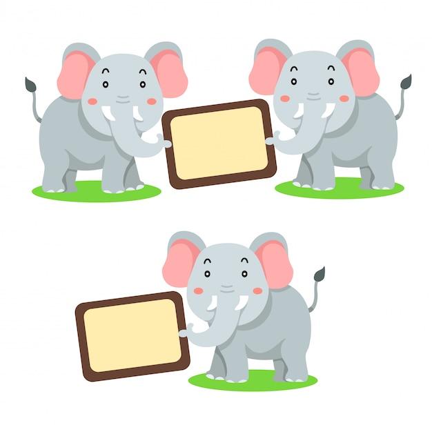 Ilustrator transparentu zwierząt słonia Premium Wektorów