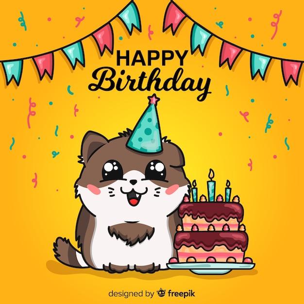 Ilustrowana kartka urodzinowa z uroczym zwierzęciem Darmowych Wektorów