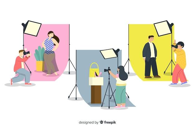 Ilustrowana kolekcja fotografów pracujących Darmowych Wektorów