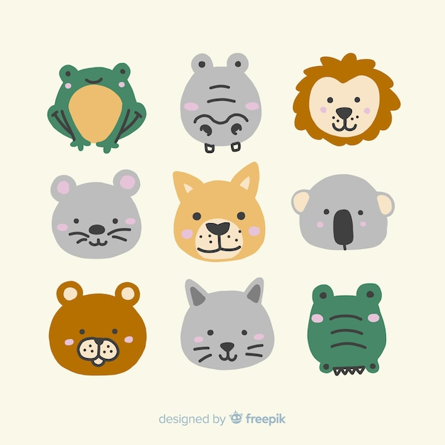 Ilustrowana kolekcja uroczych zwierzątek Darmowych Wektorów