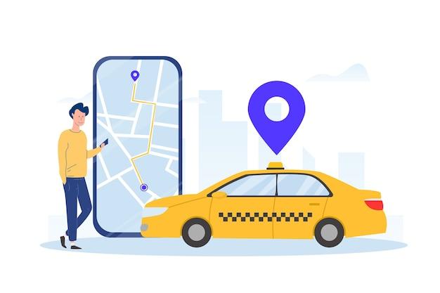 Ilustrowana Koncepcja Aplikacji Taxi Darmowych Wektorów