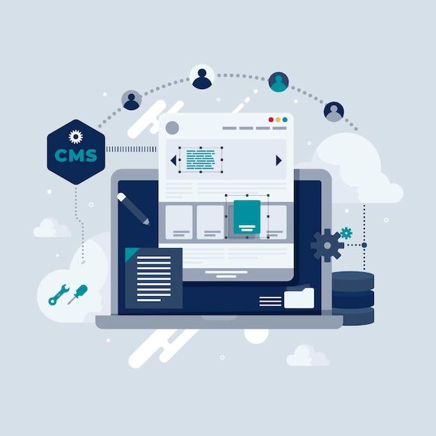 Ilustrowana Koncepcja Cms W Płaskiej Konstrukcji Premium Wektorów