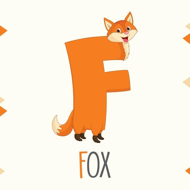 Ilustrowana Litera Alfabetu F I Fox Wektor Premium Pobieranie