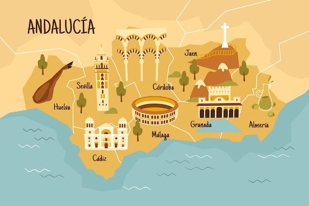 Ilustrowana Mapa Andaluzji Z Ciekawymi Punktami Orientacyjnymi Darmowych Wektorów