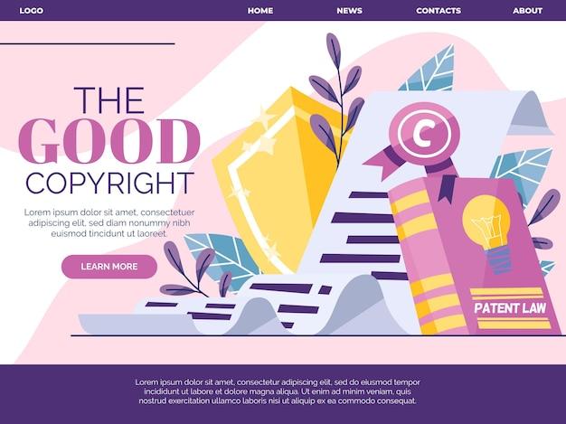 Ilustrowana Strona Docelowa Dotycząca Praw Autorskich Darmowych Wektorów
