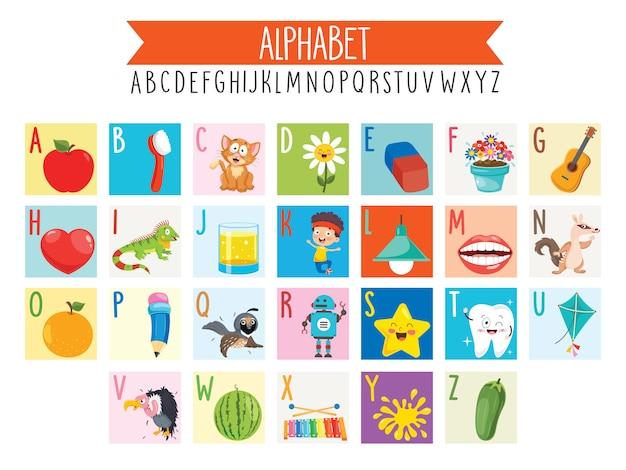 Ilustrowane Litery Alfabetu I Obiekty Z Kreskówek Premium Wektorów