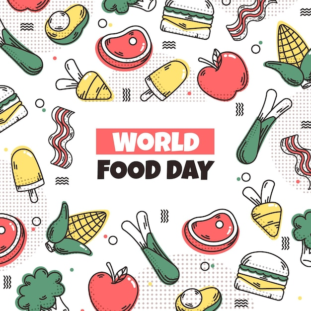 Ilustrowane Obchody światowego Dnia żywności Darmowych Wektorów