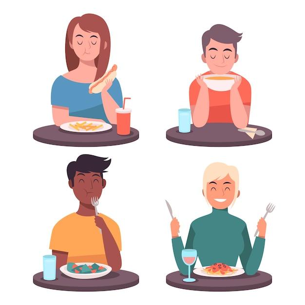 Ilustrowane Osoby Jedzące Jedzenie Darmowych Wektorów