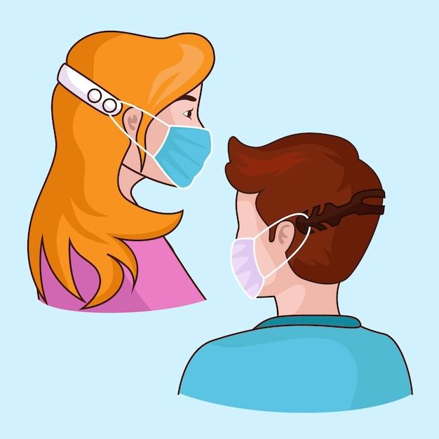Ilustrowane Osoby Noszące Regulowany Pasek Maski Na Twarz Darmowych Wektorów