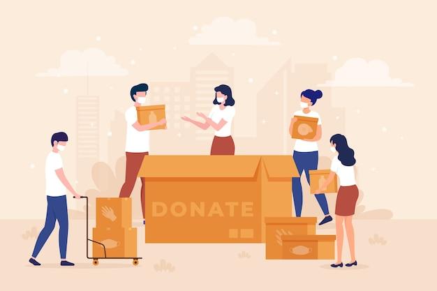 Ilustrowane Osoby Przekazujące Materiały Sanitarne W Czasie Kwarantanny Premium Wektorów