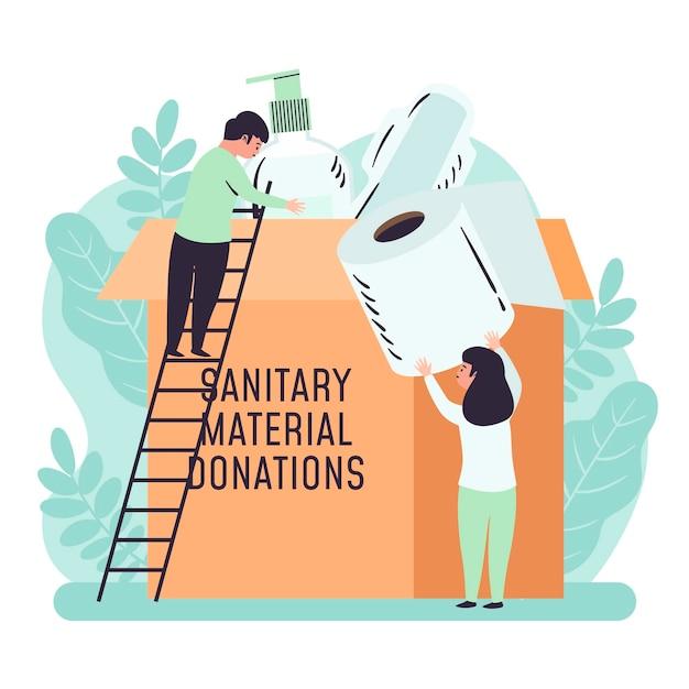 Ilustrowane Osoby Przekazujące Materiały Sanitarne Darmowych Wektorów