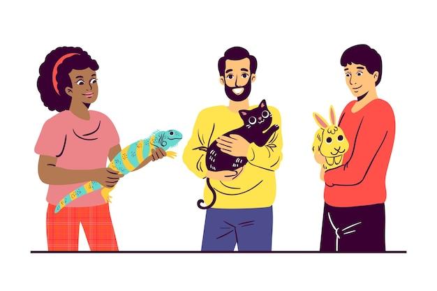 Ilustrowane Osoby Z Różnymi Zwierzętami Darmowych Wektorów