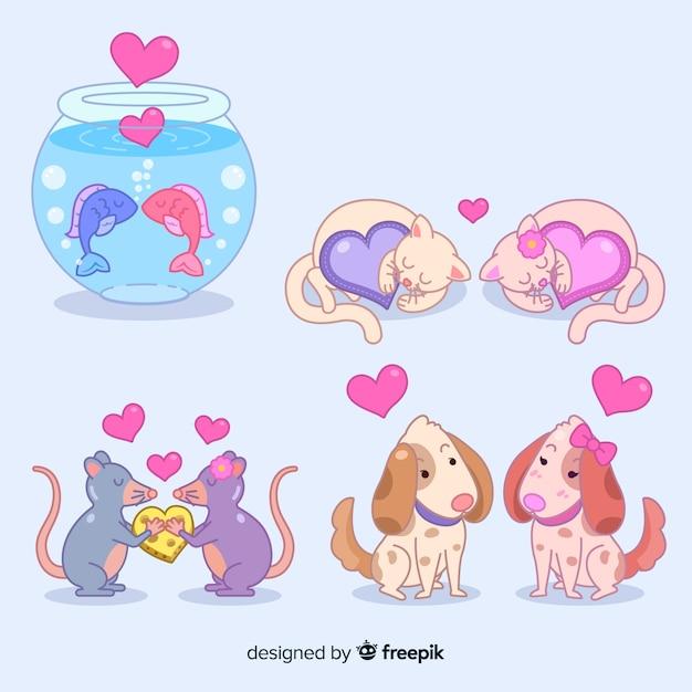 Ilustrowane słodkie zwierzęta w miłości Darmowych Wektorów