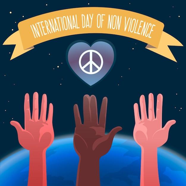Ilustrowane Wskazówki Ze Wstążką Z Międzynarodowym Dniem Bez Przemocy Darmowych Wektorów