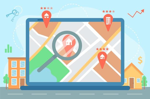 Ilustrowane Wyszukiwanie Nieruchomości Na Laptopie Darmowych Wektorów