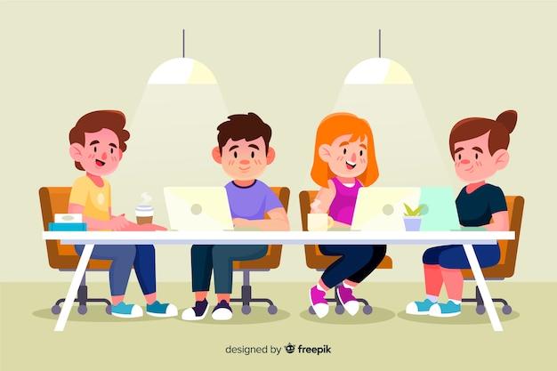 Ilustrowani ludzie pracujący przy biurkach Darmowych Wektorów