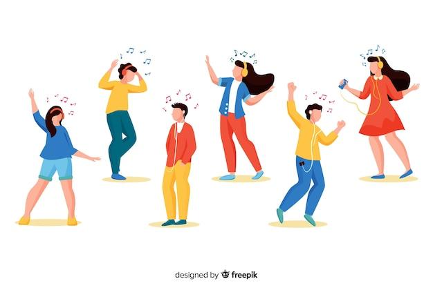 Ilustrowani ludzie słuchający muzyki na słuchawkach i tańczący Darmowych Wektorów