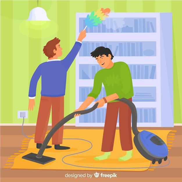 Ilustrowani mężczyźni wykonujący prace domowe Darmowych Wektorów