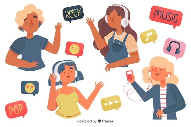 Ilustrowani młodzi ludzie cieszy się muzykę na słuchawkach Darmowych Wektorów